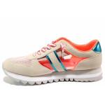 Бежови дамски маратонки, качествен еко-велур - спортни обувки за пролетта и лятото N 100015596