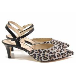 Сиви дамски обувки със среден ток, естествена кожа - официални обувки за пролетта и лятото N 100015579