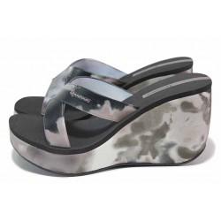 Черни дамски чехли, pvc материя - ежедневни обувки за пролетта и лятото N 100018464