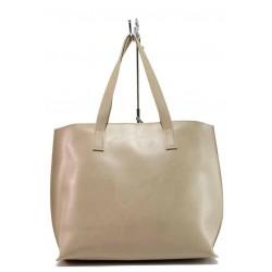 Бежова дамска чанта, здрава еко-кожа - удобство и стил за вашето ежедневие N 100017648