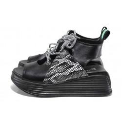 Черни дамски сандали, естествена кожа - ежедневни обувки за пролетта и лятото N 100018509
