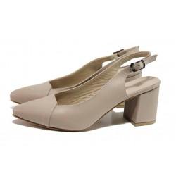 Бежови дамски обувки с висок ток, естествена кожа - елегантни обувки за пролетта и лятото N 100018510