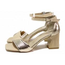 Бежови дамски сандали, естествена кожа - всекидневни обувки за лятото N 100018550