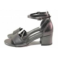 Сиви дамски сандали, здрава еко-кожа - всекидневни обувки за лятото N 100018552