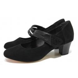 Черни дамски обувки със среден ток, качествен еко-велур - всекидневни обувки за пролетта и лятото N 100018376