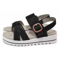 Черни дамски сандали, естествен велур - ежедневни обувки за пролетта и лятото N 100018453