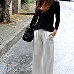 Ето как да носите широк панталон през настоящия моден сезон