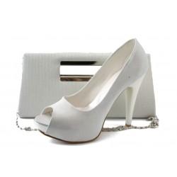 Бели дамски обувки и чанта комплект МИ 1701-3 бялKP