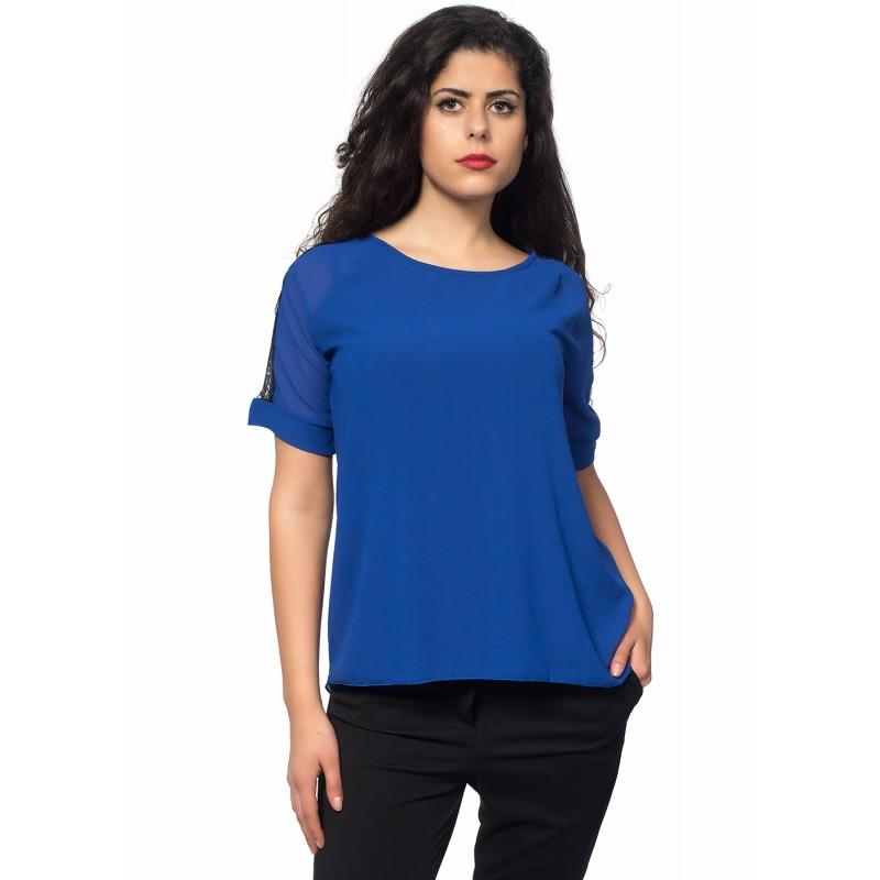 009fc27f106 Синя дамска блуза от шифон, с дантелени акценти