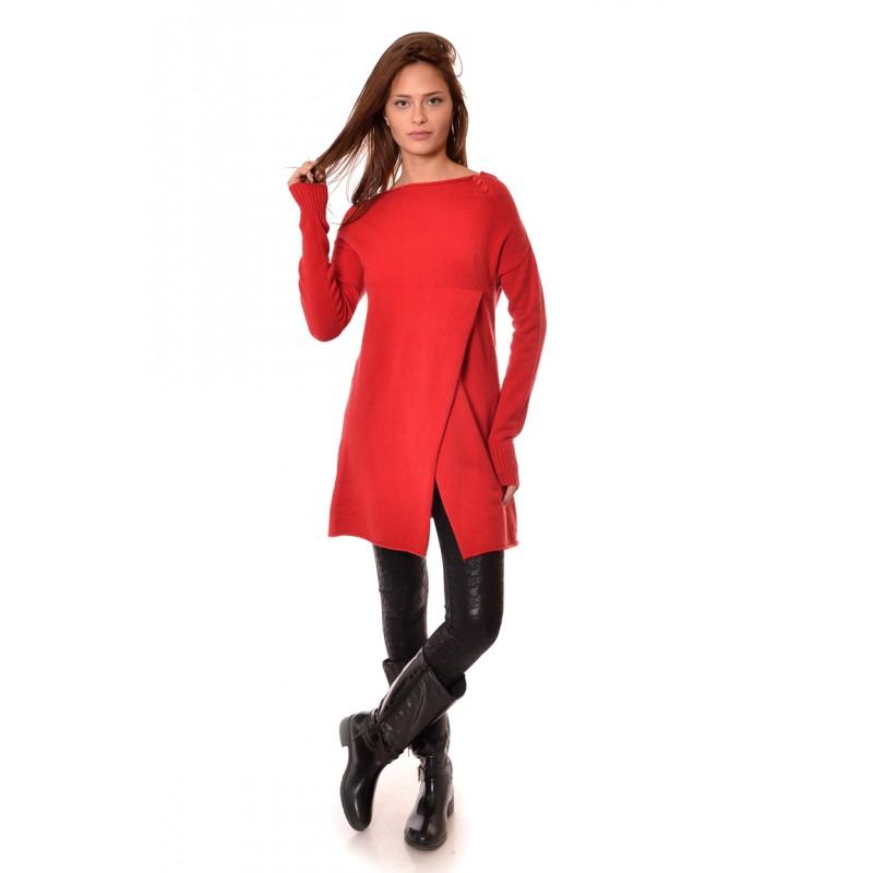 973859e9340 Дълъг червен дамски пуловер с прехлупване