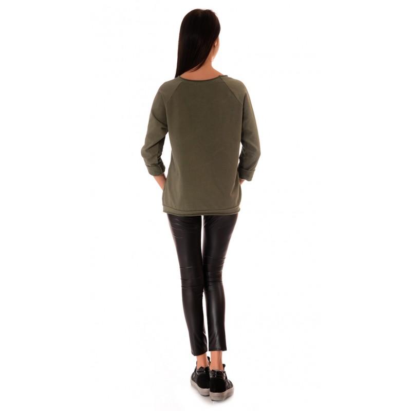 b80368f8bbf Зелена дамска блуза с дълъг ръкав