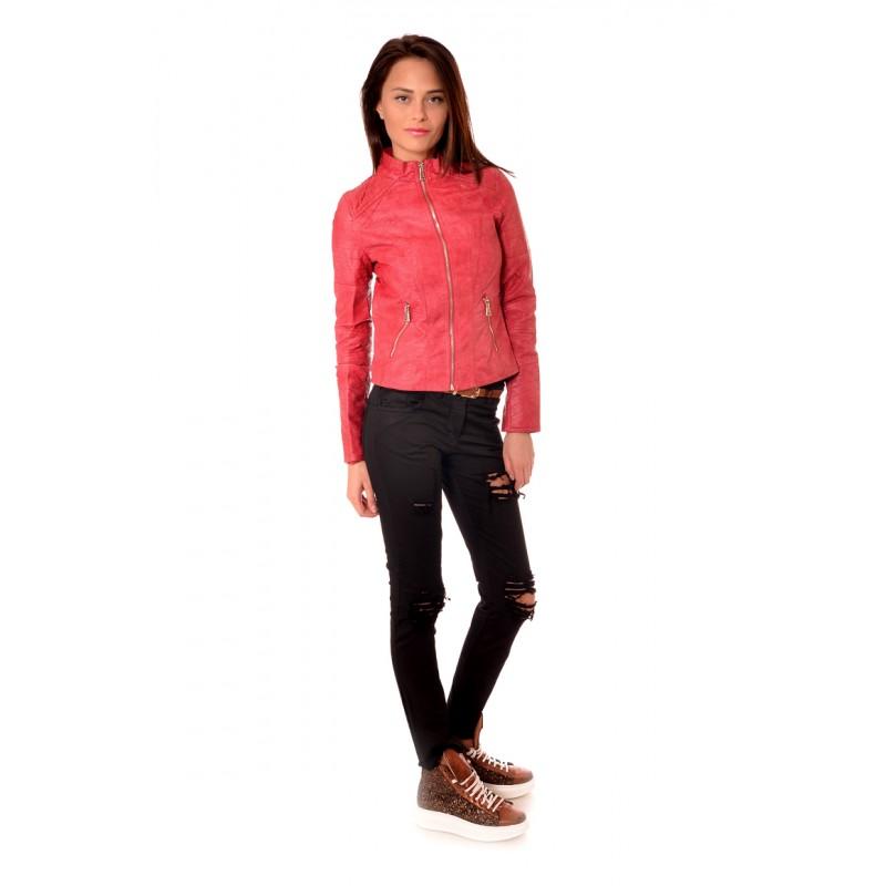 5e4bd222d6b Червено късо кожено дамско яке