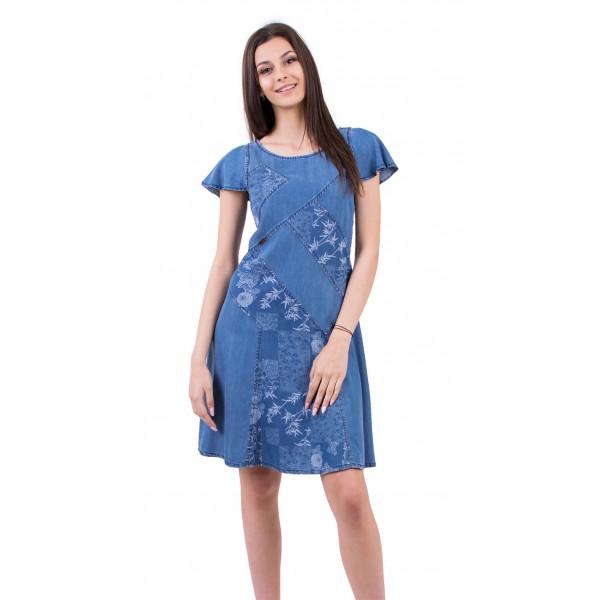 Лятна дънкова разкроена рокля