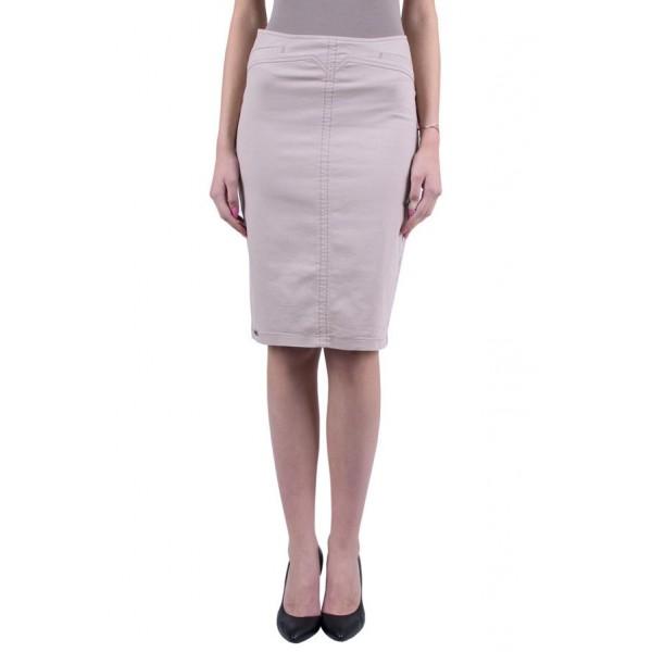 Кафява пола - памук с ликра