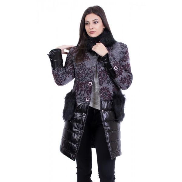 Дамско палто в бордо - вълна
