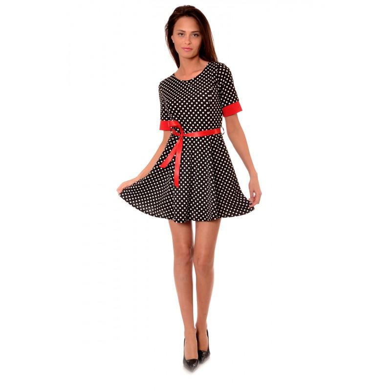 27bda35e239 Черна дамска рокля на точки