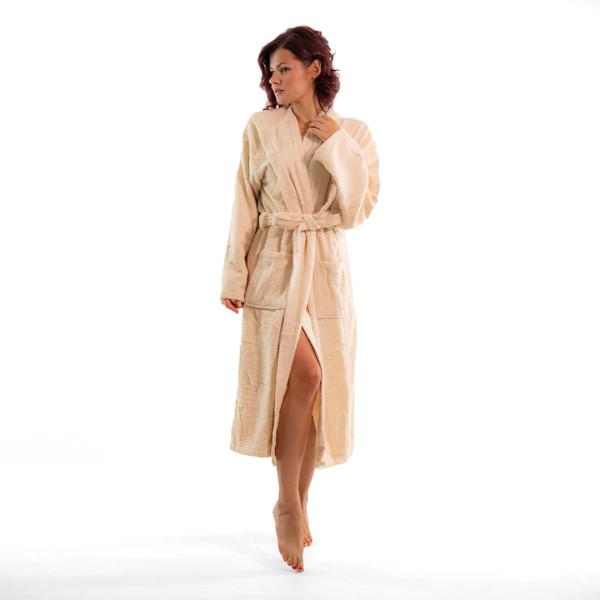 Стилен халат за баня в бежово