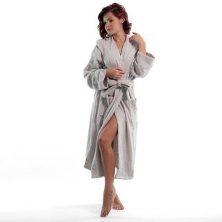 Стилен халат за баня в сиво