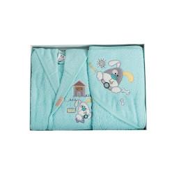 Памучен бебешки комплект за баня - Игриво кученце 01