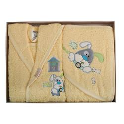 Памучен бебешки комплект за баня - Игриво кученце 04