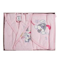 Бебешки хавлиен халат с хавлийка комплект DoggyG pink