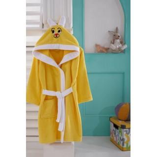 Жълт детски халат - 100% Памук