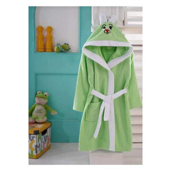 Зелен детски халат - 100% Памук