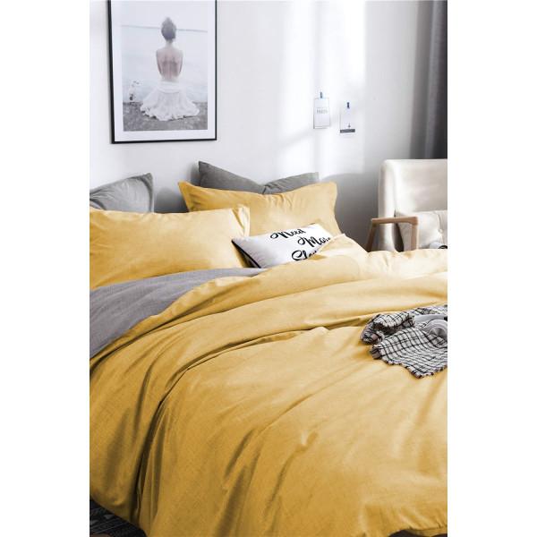 Двулицев спален комплект в Сиво и Жълто - Ранфорс