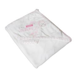 Мека памучна хавлия за бебе - розово жирафче