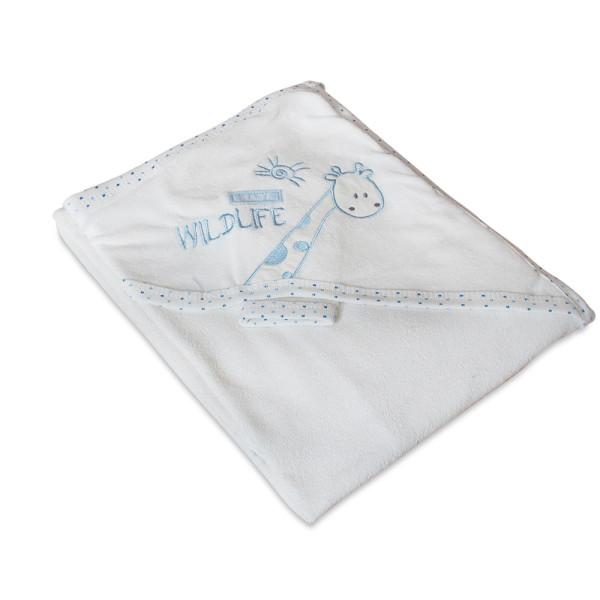 Мека памучна хавлия за бебе - синьо жирафче