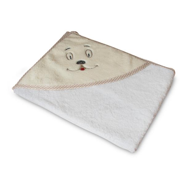 Мека памучна хавлия за бебе Бежова- сладко личице