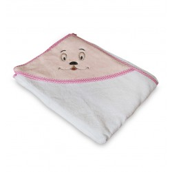Мека памучна хавлия за бебе Розова - сладко личице