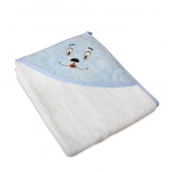 Мека памучна хавлия за бебе Синя - сладко личице