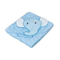 Синя памучна хавлия за бебе Слонче