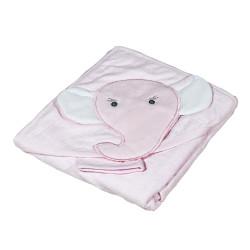 Розова памучна хавлия за бебе Слонче