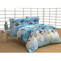 100% Памучен спален комплект Синя пеперуда