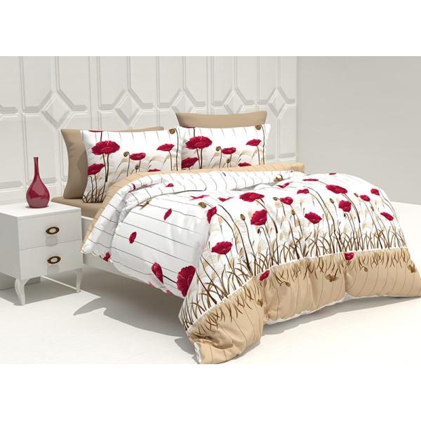 Памучен спален комплект Алена кафява