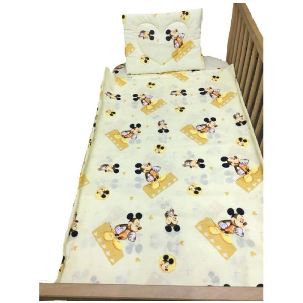 Памучен спален комплект за бебе - Мики жълт