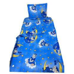 Памучен бебешки спален комплект в синьо - Мечето Мо