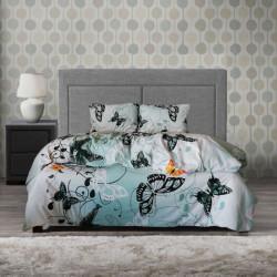 Памучен спален комплект Пеперуда - аква