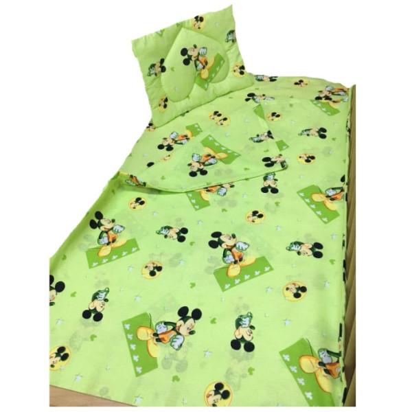 Памучен спален комплект за бебе - Мики зелен