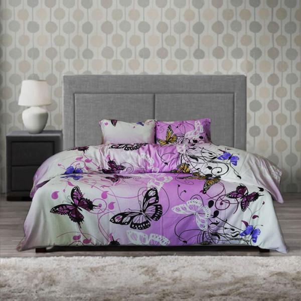 Памучен спален комплект Пеперуда - лилав
