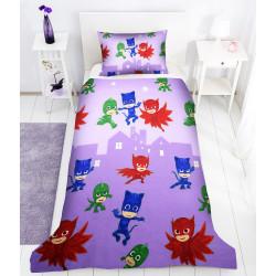 Памучен спален комплект за деца - PJ Masks лилав