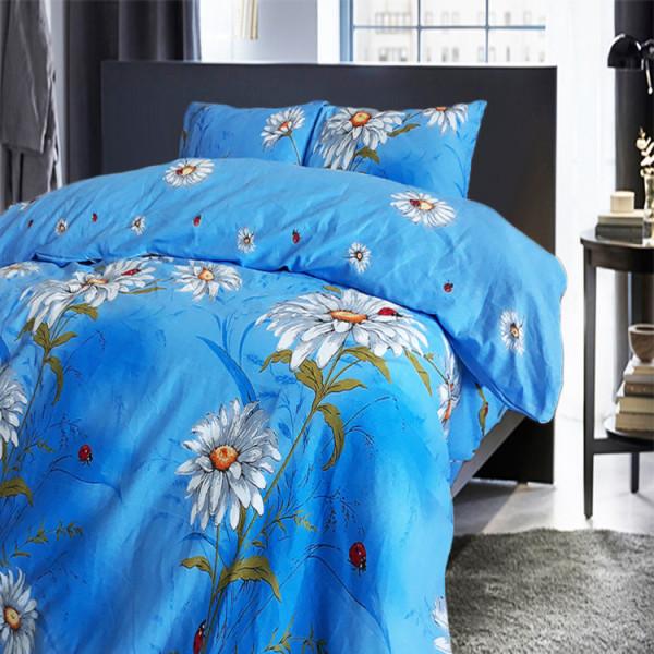 Синьо памучно спално бельо Daisy