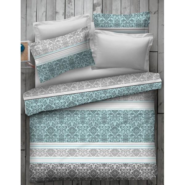 Спален комплект в аква и сиво с орнаментика - 100% Памук