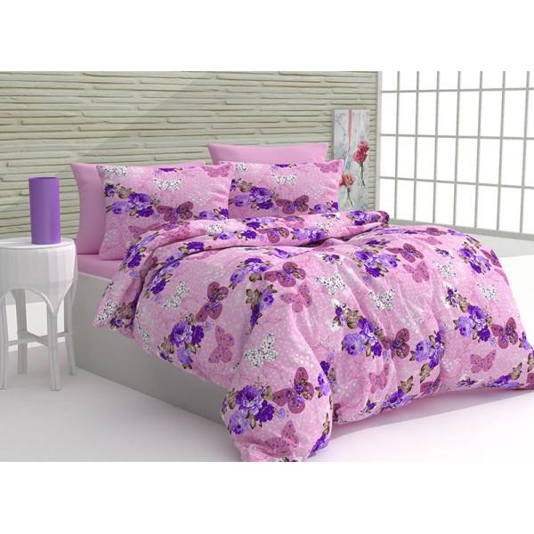 Памучен спален комплект Волтера - розов