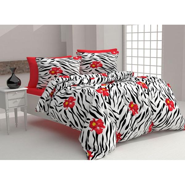 Памучен спален комплект Адрия - червен