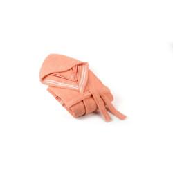 Памучен халат с качулка Венеция - Корал