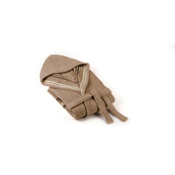 Памучен халат с качулка Венеция - Бежов