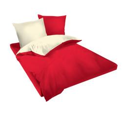 Двуцветен спален комплект в червено и екрю - Памук Ранфорс